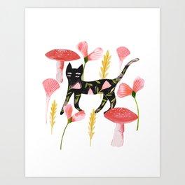 Chat & Champignons Art Print