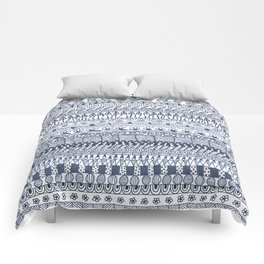 Indigo Doodle strips Comforters