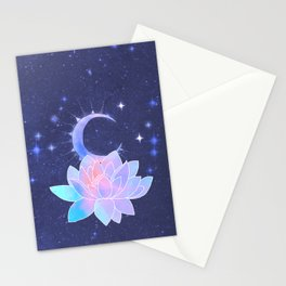 moon lotus flower Stationery Cards