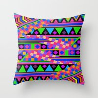 neon Throw Pillows featuring NEON by Bianca Green
