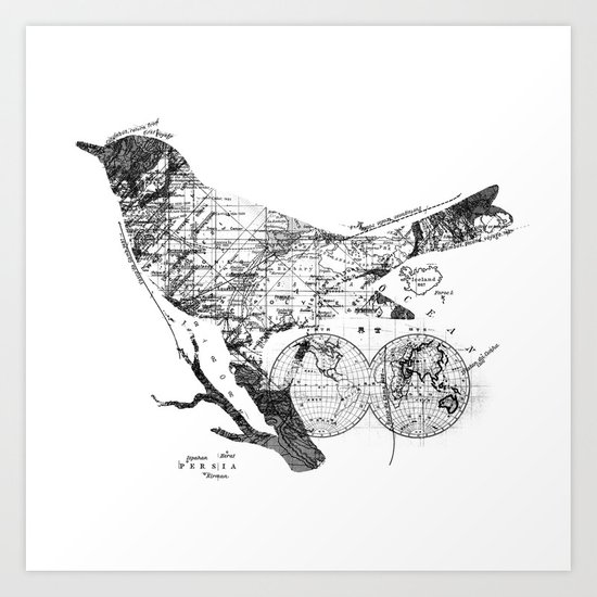 Bird Wanderlust Black and White Art Print