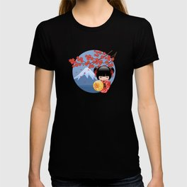 Japanese Red Sakura Kokeshi Doll on Blue T-shirt