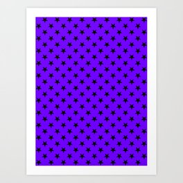 Black on Indigo Violet Stars Art Print