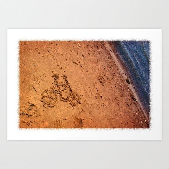 sand bicycle Art Print