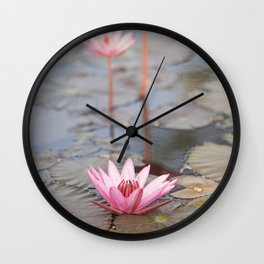 Three Lotus Flowers Wall Clock