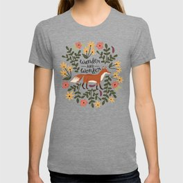 Fox and Flowers - Wander and Wonder T-shirt