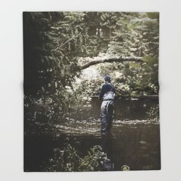 Trout River Fishing Throw Blanket