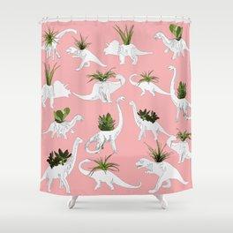 Dinosaurs & Succulents Shower Curtain