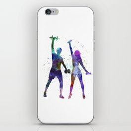 woman exercising with man coach iPhone Skin