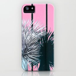 Yucca Plant in Front of Striped Pink Wall iPhone Case