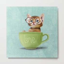 Kitten with glasses Metal Print