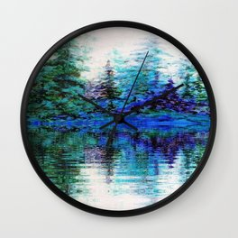 SCENIC BLUE MOUNTAIN PINES LAKE REFLECTION Wall Clock