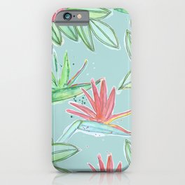 Tropical Flowers Soft Blue Background iPhone Case