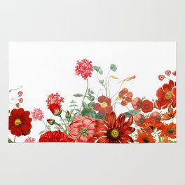 Vintage & Shabby Chic - Red Summer Flower Garden Rug