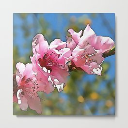 Close Up Peach Tree Blossom Black Outline Art Metal Print