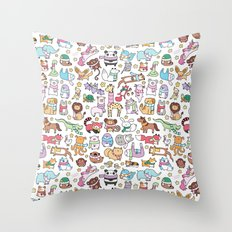 Winter Animals with Scarves Doodle Throw Pillow