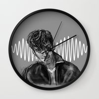 alex turner Wall Clocks featuring Alex Turner by Luna Perri