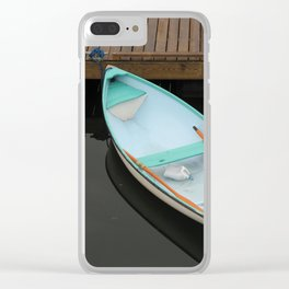 Pale blue serenity Clear iPhone Case