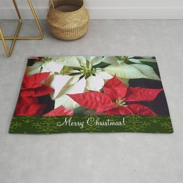 Mixed Color Poinsettias 2 Merry Christmas S6F1 Rug