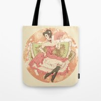 victorian Tote Bags featuring Victorian by Megan Jeffs