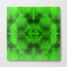 Mosaic Grunge in Neon Green Metal Print