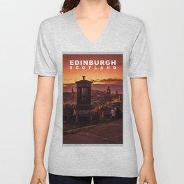 The City of Edinburgh, Scotland Unisex V-Neck