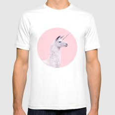 UNICORN LAMA MEDIUM Mens Fitted Tee White