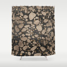 Terrazzo - Mosaic - Wooden texture and gold #2 Shower Curtain