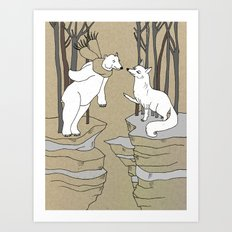 Arctic fox and Polar bear, Romeo and Juliet Art Print