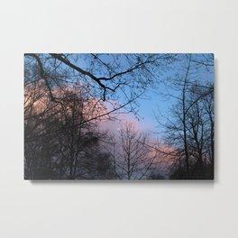 Pink & Blue Moon Metal Print