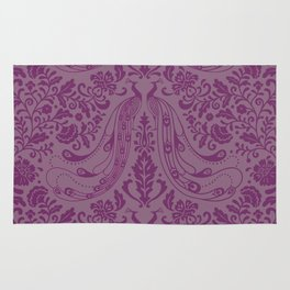 Purple Peacock Print Rug