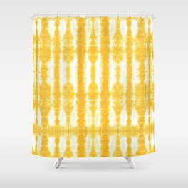 Yellow Tiki Shibori Shower Curtain