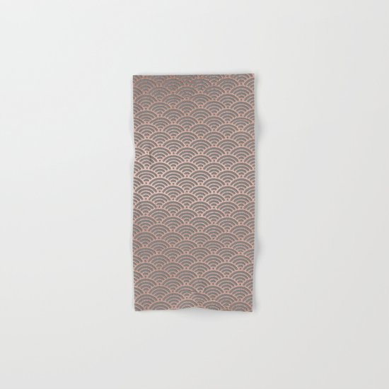 Rosegold mermaid pattern-on grey background Hand & Bath Towel