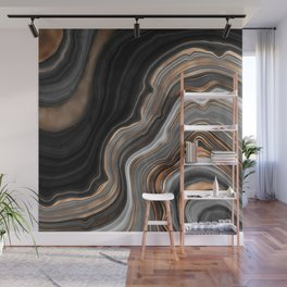 Elegant black marble with gold and copper veins Wall Mural
