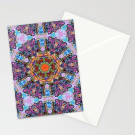 Mandala with colorful collage Stationery Cards