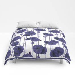 Blue flowers on striped white background Comforters