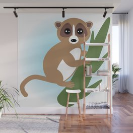 lemur on green branch on white background Wall Mural