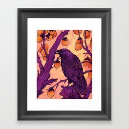 Raven and Persimmons Framed Art Print