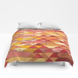 Triangle Pattern no.4 Warm Colors Red and Yellow Comforters