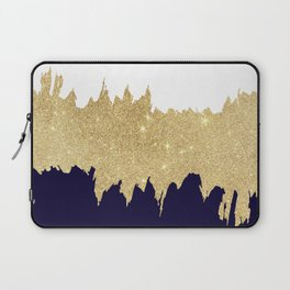 Modern navy blue white faux gold glitter brushstrokes Laptop Sleeve