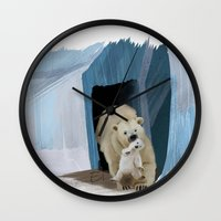 bears Wall Clocks featuring Bears by Elena Napoli