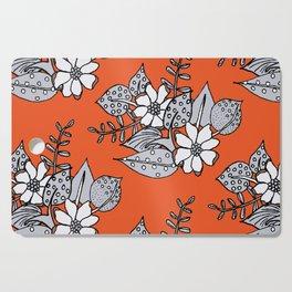 Orangey Gray Floral Cutting Board