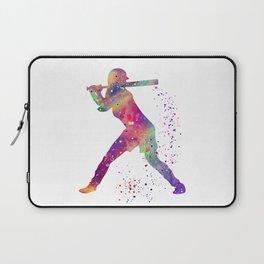Girl Baseball Player Softball Batter Colorful Watercolor Art Laptop Sleeve