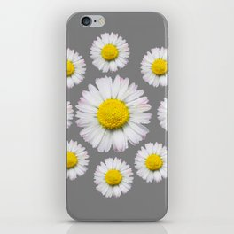 WHITE SHASTA DAISY FLOWERS  DECORATIVE GREY ART iPhone Skin