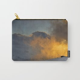 Red sun through the fog. At sunset in the snowy mountains Carry-All Pouch