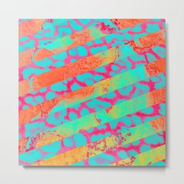 Neon Leopard and stripes - Electric Metal Print