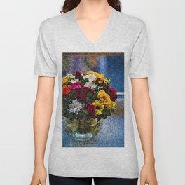 Flowers and Vase Portrait #1 - Jeanpaul Ferro Unisex V-Neck