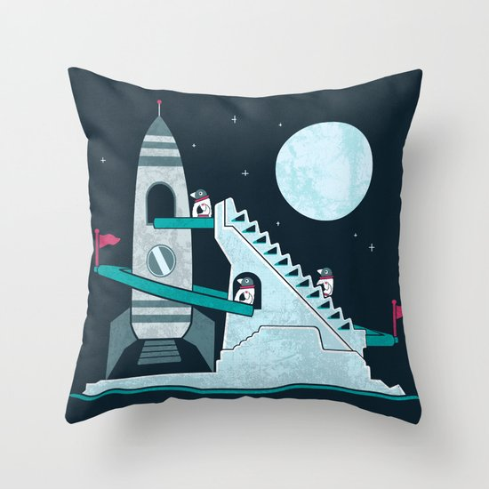Penguin Space Race Throw Pillow