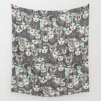 sweater Wall Tapestries featuring sweater mice mint by Sharon Turner