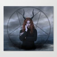 satan Canvas Prints featuring satan by tadzioautumn